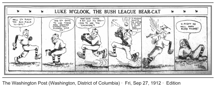 1912 Baseball Comic...Newfangled Sunglasses in the Ballpark!